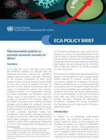 Macroeconomic policies to promote economic recovery in Africa